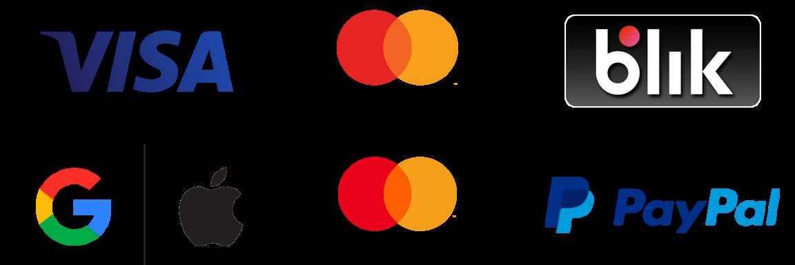 loga Visa, Google, Apple, Mastercard, Masterpass, PayPal  i Blik